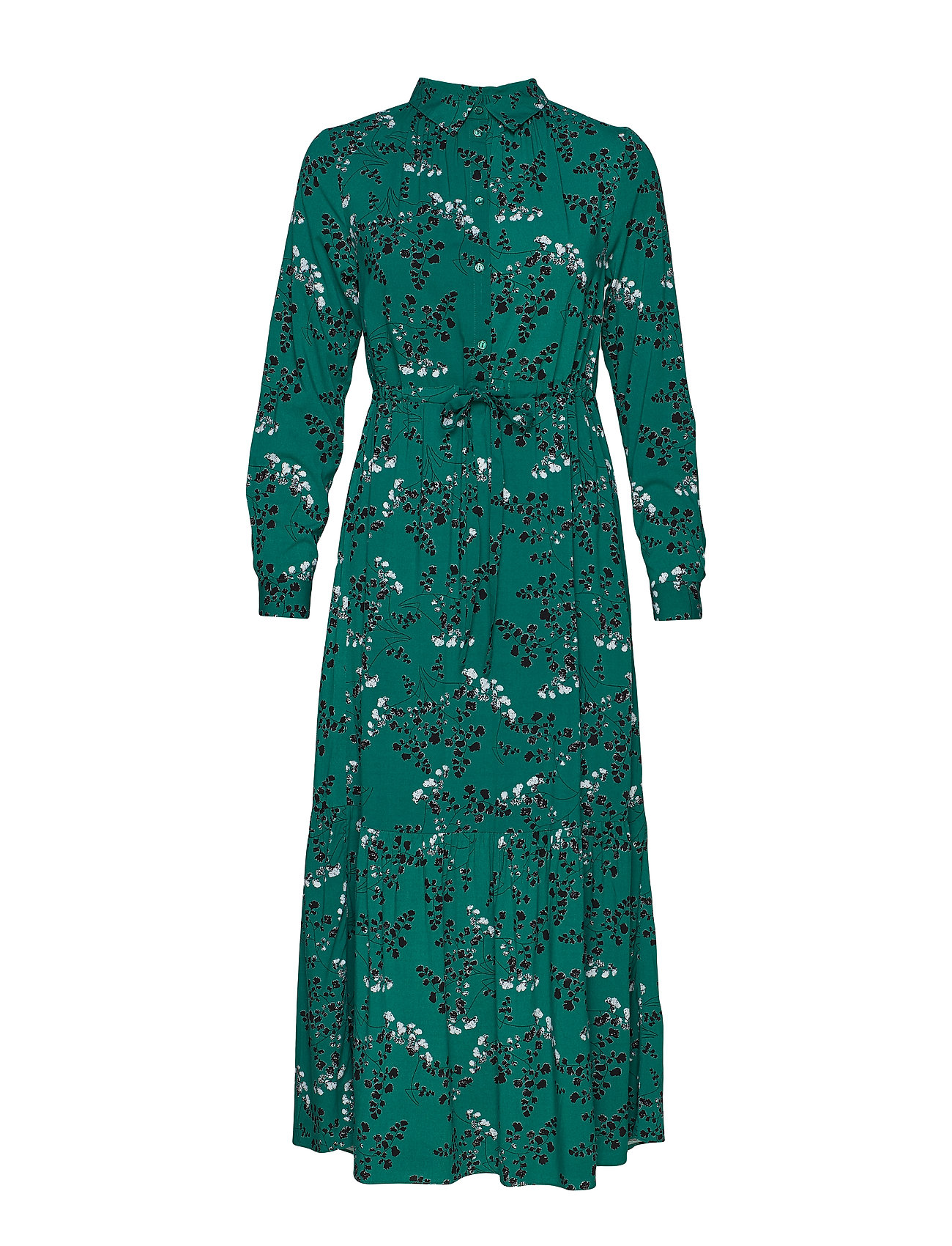 Soft Rebels Leaf LS Ankle Dress - EVERGREEN