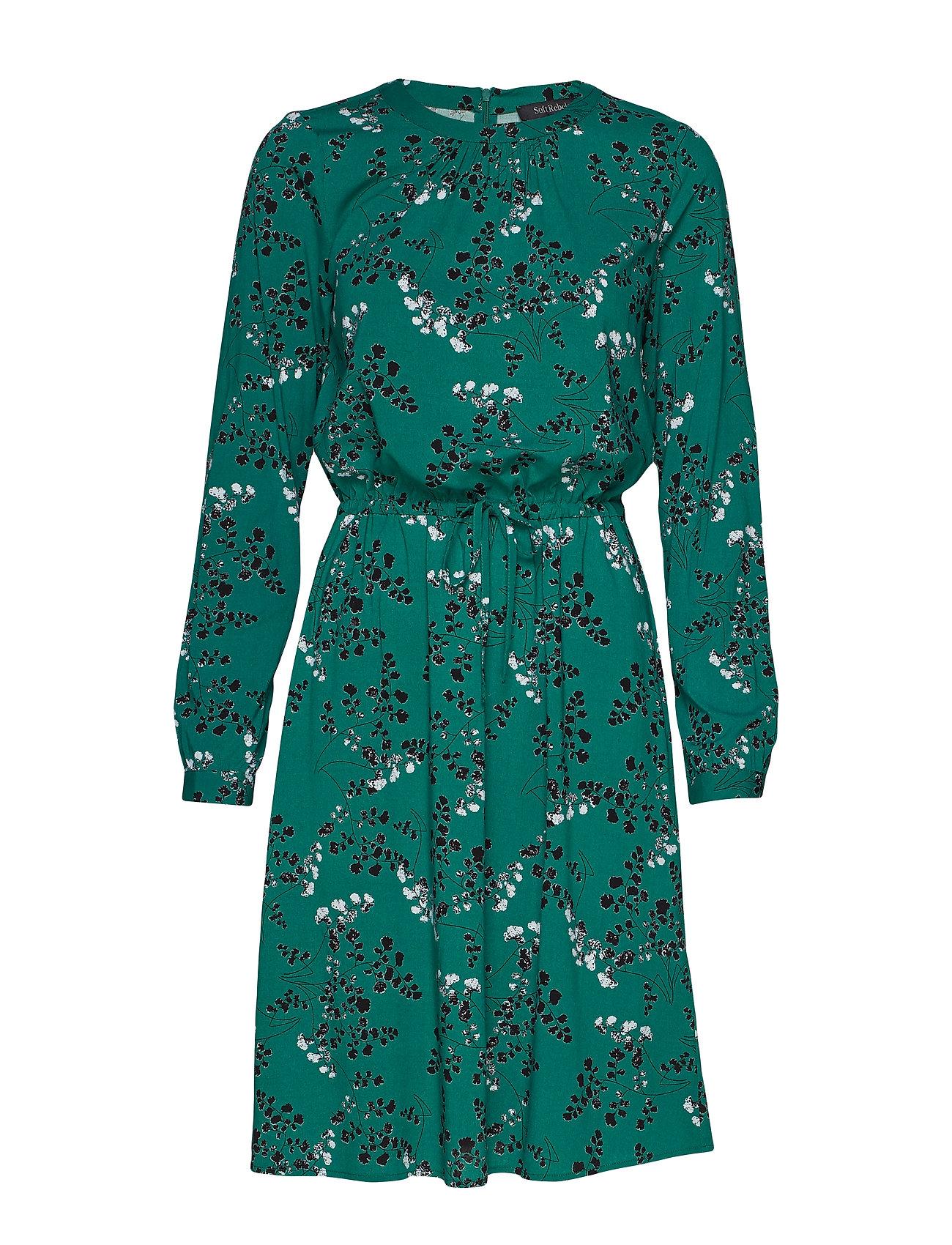 Soft Rebels Leaf LS Dress - EVERGREEN