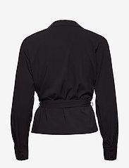 Soft Rebels - Stripie LS Wrap Top - long sleeved blouses - black - 1