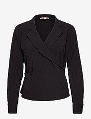 Soft Rebels - Stripie LS Wrap Top - long sleeved blouses - black - 2