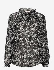 Soft Rebels - Sally LS Top print - long sleeved blouses - flora monocrome print - 0