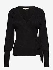 Soft Rebels - SRMarla LS Wrap Around Knit - cardigans - black - 0