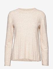 Soft Rebels - Claire O-neck Knit - trøjer - bleached sand - 0