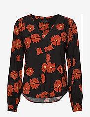 Soft Rebels - Silla Blouse - long sleeved blouses - poppy print - 0