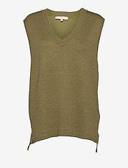 Marla V-neck Loose Fit Knit Vest - OLIVE DRAB MELANGE