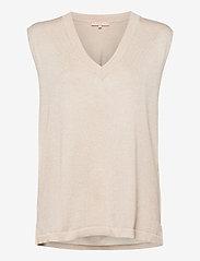 Marla V-neck Loose Fit Knit Vest - WHITECAP GRAY