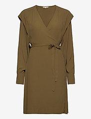 Soft Rebels - Dora Wrap Dress - summer dresses - dark olive - 0