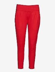 Soft Rebels - Freya Stripe Pant 7/8 - straight leg trousers - 350 spizy red - 0