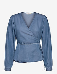 Soft Rebels - SRSasha LS Wrap Top - long sleeved blouses - mid blue - 0