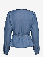 Soft Rebels - SRSasha LS Wrap Top - long sleeved blouses - mid blue - 1