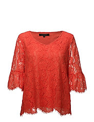 Pia Blouse - 328 HOT CORAL