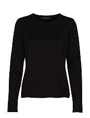 Zara O-neck Knit Roll Edge - BLACK