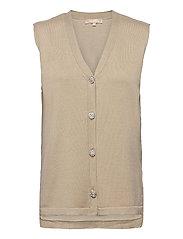 SRLisa V-neck Vest Cardigan Knit - WHITE PEPPER