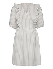 SRVickie Wrap Dress - SNOW WHITE / OFF WHITE