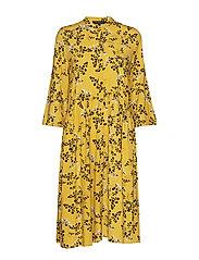 Karoline Shirt Dress - LEAF PRINT - CEYLON YELLOW