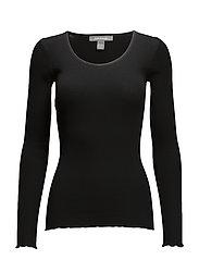 Silk Rib LS O-Neck - 001 BLACK
