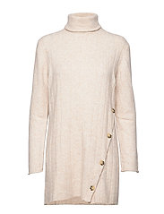 Claire Rollneck Long Knit - BLEACHED SAND