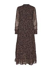 Selina Long Dress - FLOWVY PRINT BLACK