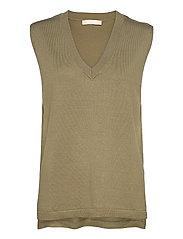 Marla V-neck Loose Fit Knit Vest - COVERT GREEN