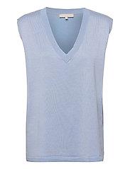 Marla V-neck Loose Fit Knit Vest - ZEN BLUE