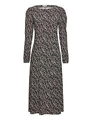 Dee Midi Dress - MINI LEAF BLACK PRINT