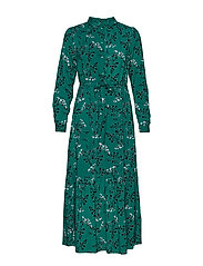 Leaf LS Ankle Dress - EVERGREEN