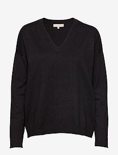 Zara V-neck Knit - swetry - black