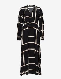 Whonda Ankle Dress - skjortekjoler - whonda black print