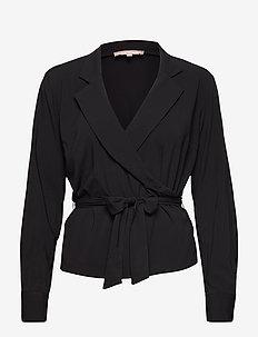 Stripie LS Wrap Top - long sleeved blouses - black