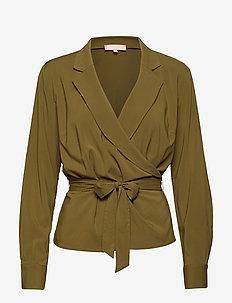 Stripie LS Wrap Top - long sleeved blouses - nutria