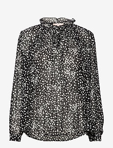 Sally LS Top print - long sleeved blouses - flora monocrome print