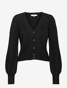 SRPeach LS V-neck Knit - cardigans - black / black