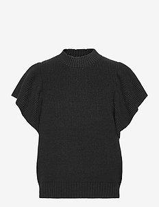 SRPeach T-neck Knit Vest - gebreide t-shirts - black