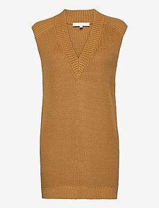 SRTammy V-neck Knit Vest - stickade västar - dijon