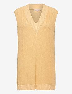 SRTammy V-neck Knit Vest - knitted vests - reed yellow