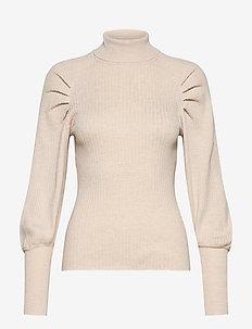 SRMarla LS Rollneck Slim Knit - rollkragenpullover - whitecap gray