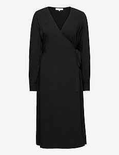 SRBloom Midi Wrap Dress - wickelkleider - black