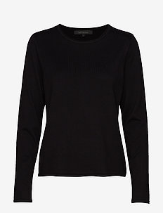 Zara O-neck Knit Roll Edge - gensere - black