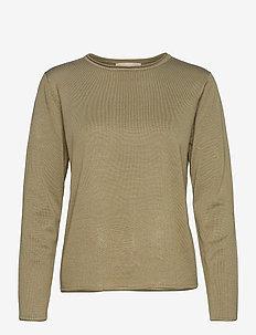SRMarla O-neck Knit Roll Edge - sweaters - covert green