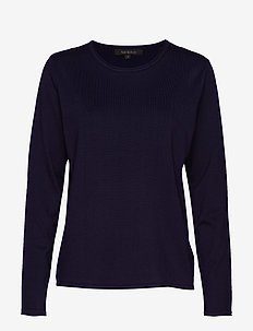 Zara O-neck Knit Roll Edge - jumpers - total eclipse