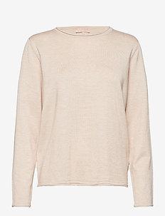 SRMarla O-neck Knit Roll Edge - sweaters - whitecap gray