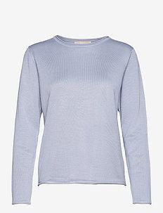 SRMarla O-neck Knit Roll Edge - sweaters - zen blue