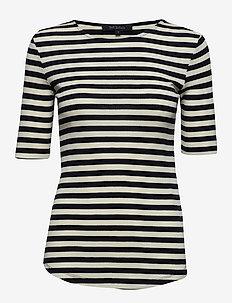 Eve 2/4 t-shirt - stribede t-shirts - black