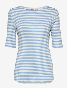 Eve 2/4 t-shirt - stribede t-shirts - little boy blue
