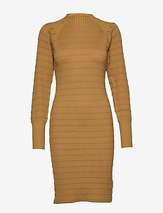 Elenor Dress Knit - sukienki dzianinowe - cumin