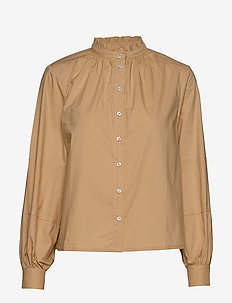 Beatrice LS Frill Shirt - long sleeved blouses - warm sand