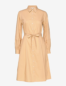 Beatrice Midi Shirt Dress - skjortekjoler - warm sand