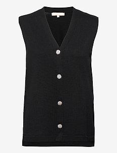 SRLisa V-neck Vest Cardigan Knit - knitted vests - black