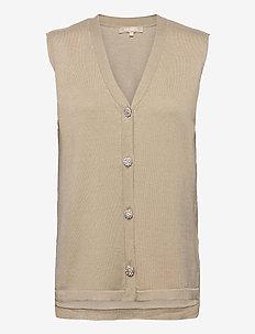 SRLisa V-neck Vest Cardigan Knit - knitted vests - white pepper
