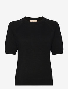 SRMarla SS O-neck - stickade toppar & t-shirts - black